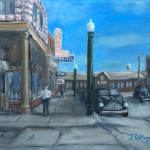 Main Street Mitchell is an 8inch by 10 inch original oil painting on canvas of main street in Mitchell, SD, ~1940.