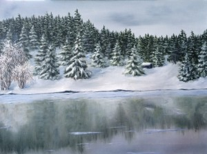 Reflection on Ice is a 16 inch by 20 inch original oil painting on canvas of a cabin in an evergreen forest reflected on an icy lake.