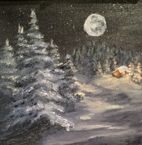 Moon on the Snow 6x6 is a 6 inch by 6 inch original oil painting on canvas of the full moon shining on a snow scene of small house in the woods.