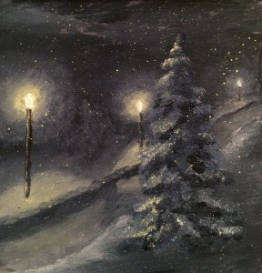 Lighting the Way Home 6x6 is a 6 inch by 6 inch oil on canvas original oil painting on a panel. Street lights glow on a snowy winter night, lighting this tree lined drive. Snow, winter, night, evening, glow, street lights, pine trees