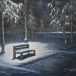 Snow in the Park is a 16 inch by 20 inch original oil painting on canvas of lamp posts, trees, and a bench in a city park in the snow.