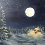 "Moon on the Snow 3 10"" x 8"" original oil painting on canvas of the full moon shining on a snow scene of small house in the woods."