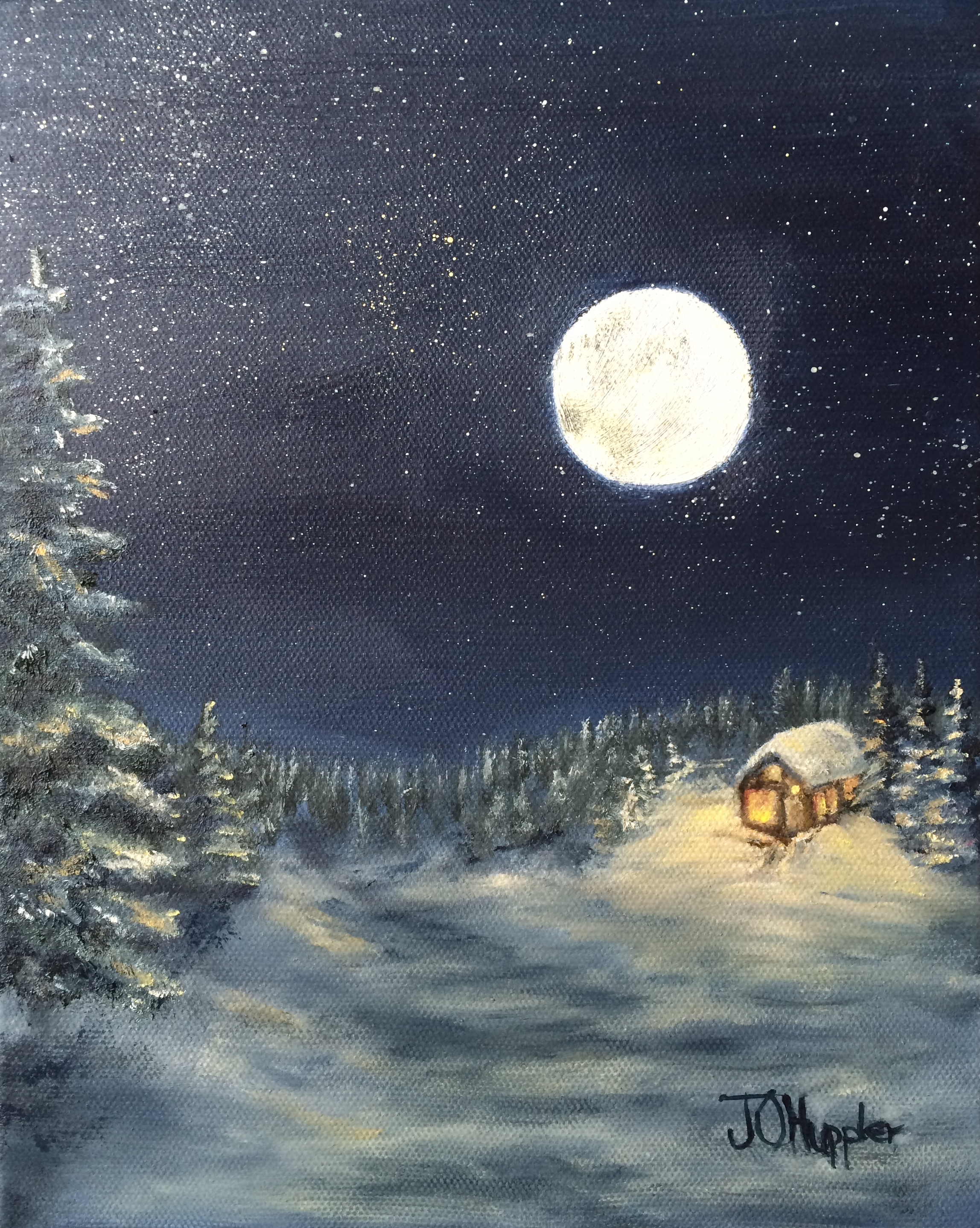 Log cabin in the woods painting - Moon On The Snow 3 10 X 8 Original Oil Painting On Canvas Of