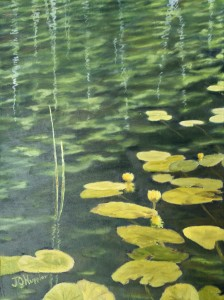 Lilly Pads on Water 12 inch by 9 inch original oil painting on canvas of lily pads on the rippled surface of a lake.