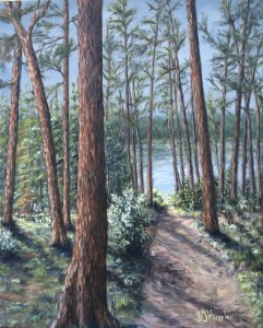 Red Pines at Itasca is a 20 inch by 16 inch original oil painting on canvas of red pine trees along a walking path to a lake at Itasca State Park.