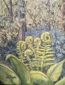 "Fiddlehead Ferns 10"" x 8"" original oil painting on canvas of unrolling fiddlehead ferns in a spring time woods."