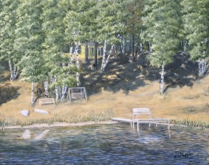 """Yellow Cabin 16"""" x 20"""" original oil painting on canvas of a yellow lake cabin on a hill overlooking a lake with a dock with a bench near the end and on shore are a glider bench, a wooden swing, and two paddle boards."""