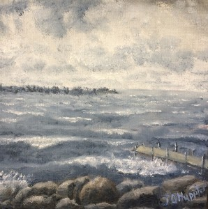 "Lake Waves 6x6 -- 6"" x 6"" x 1.5"" -- original oil painting on canvas"