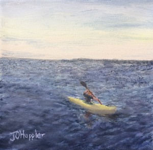 "Kayaking 6x6 -- 6"" x 6"" x 1.5"" -- original oil painting on canvas"