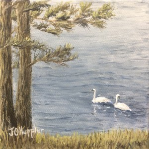 """Swans on a Lake 6x6 -- 6"""" x 6"""" x .5"""" -- original oil painting on canvas"""